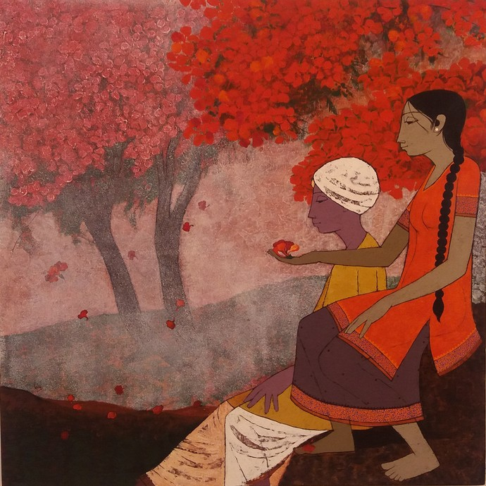 Gulmohar by Rahul Mhetre, Expressionism Painting, Acrylic on Canvas,