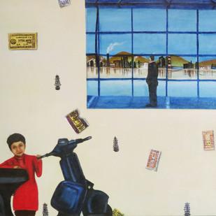 Fresh Breath 2 by riddhima sharraf, Fantasy Painting, Oil & Acrylic on Canvas, Beige color