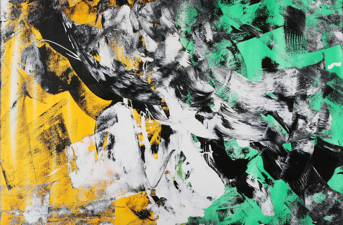 Roar of fury by Bharat Thakur, Abstract, Abstract Painting, Acrylic on Canvas, Green color