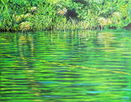 Still Waters by Usha Shantharam, Impressionism Painting, Acrylic on Canvas, Green color
