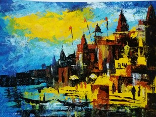 varanasi ghat Artwork By Ashish Mishra Ashwa