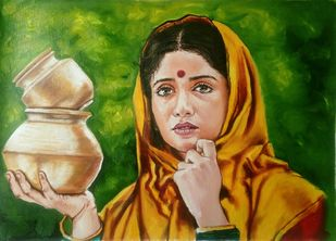 MilkMaid by Sreenivasa Ram Makineedi, Realism Painting, Oil on Canvas, Green color