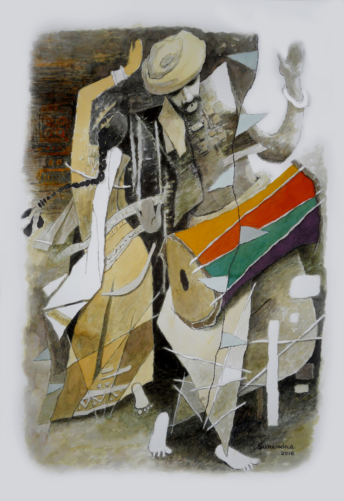 drummer by Surendra Pal Singh, Impressionism Painting, Watercolor on Paper, Gray color