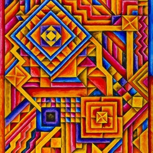 Elated by Ratish Sharma, Geometrical Painting, Acrylic on Acrylic Sheet, Brown color