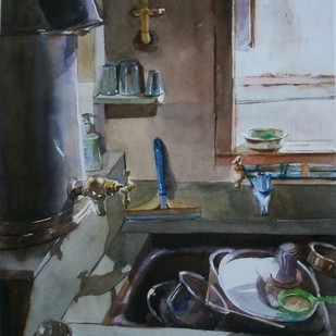 Mothers Recipie by Avanish Trivedi, Photorealism, Photorealism Painting, Watercolor on Paper, Gray color