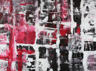 The Labyrinth by Bharat Thakur, Abstract Painting, Acrylic on Canvas, Gray color