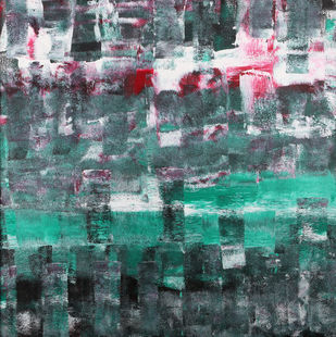 The Passing of Thoughts by Bharat Thakur, Abstract Painting, Acrylic on Canvas, Green color