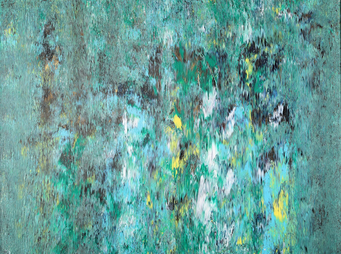 Hidden Gifts by Bharat Thakur, Abstract Painting, Acrylic on Canvas, Green color