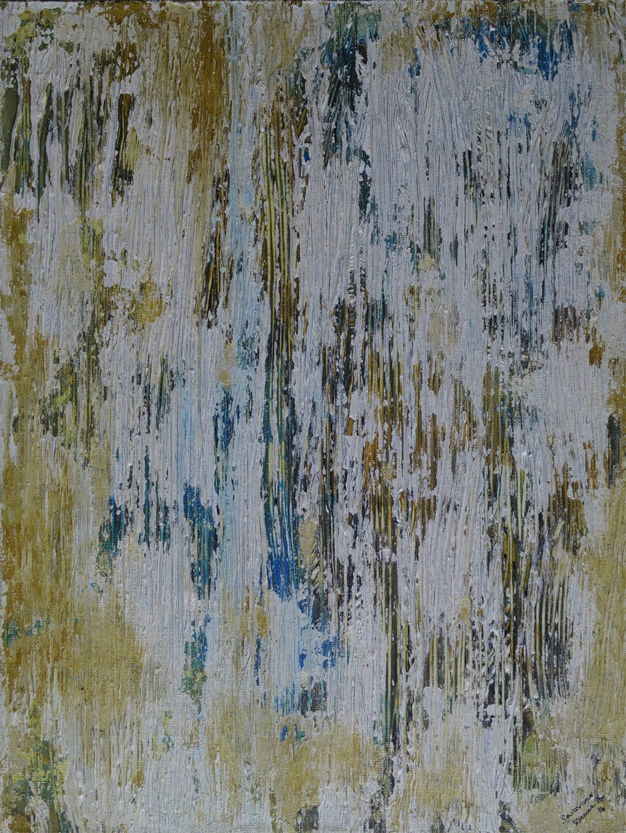 Untitled by Saravana Kumar, Abstract Painting, Acrylic on Canvas, Gray color