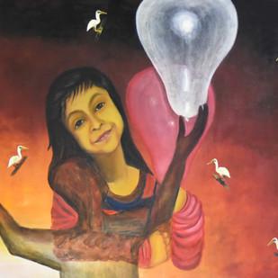 Fresh Breath 1 by riddhima sharraf, Expressionism Painting, Oil & Acrylic on Canvas, Brown color