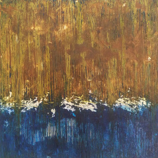 Between by Saravana Kumar, Abstract Painting, Acrylic on Canvas, Brown color