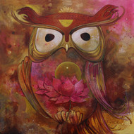Owl by Rajeshwar Nyalapalli, Traditional Painting, Acrylic on Canvas, Brown color