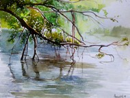 Peace by Avanish Trivedi, Impressionism Painting, Watercolor on Paper, Green color