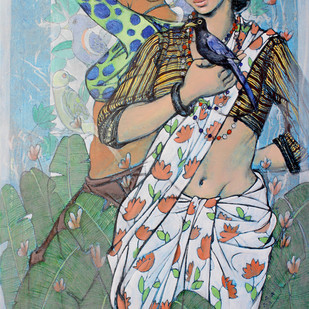 beauty with bird by Ramchandra Kharatmal, Expressionism Painting, Acrylic & Graphite on Canvas, Green color