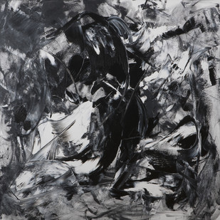 The Waiting by Bharat Thakur, Abstract Painting, Acrylic on Canvas, Gray color