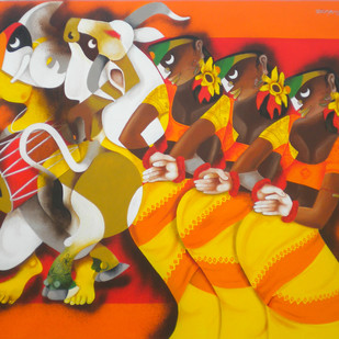 Folk Dance 4 by Uttam Manna, Expressionism Painting, Acrylic on Canvas, Brown color