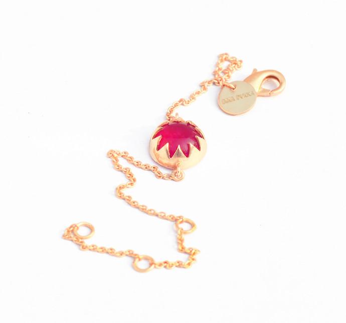 RED QUARTZ CABOCHON STONE BRACELET by Ikka Dukka Studio Pvt Ltd, Art Jewellery, Contemporary Bracelet