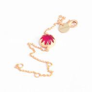 Cabochon pink chain bracelet
