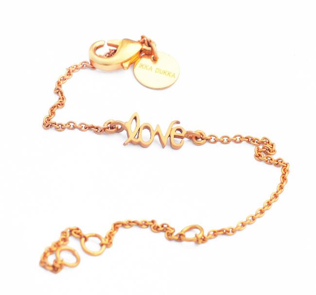 LOVE WORD CHAIN BRACELET by Ikka Dukka Studio Pvt Ltd, Art Jewellery, Contemporary Bracelet