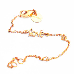 LOVE WORD CHAIN BRACELET by Ikka Dukka Studio Pvt Ltd, Art Jewellery, Contemporary Bracelet