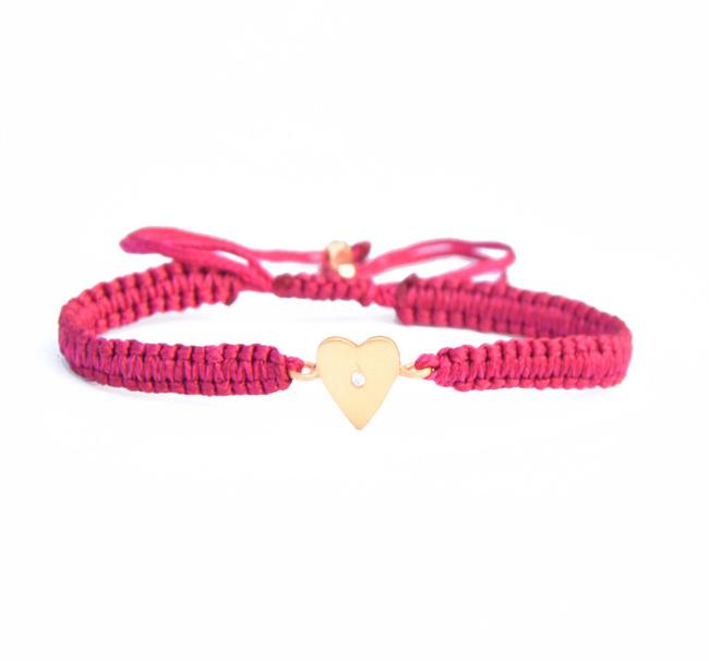 HEART CHARM SILK CORD BRACELET by Ikka Dukka Studio Pvt Ltd, Art Jewellery, Contemporary Bracelet