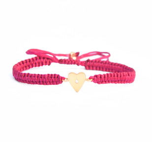 HEART CHARM SILK CORD BRACELET by Ikka Dukka Studio Pvt Ltd, Art Jewellery, Contemporary Bracelet