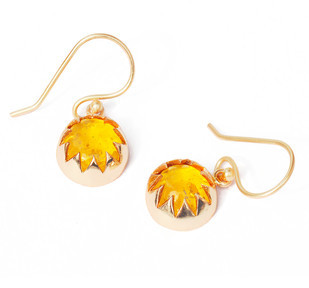 CULTURED AMBER CABOCHON DANGLE EARRINGS by Ikka Dukka Studio Pvt Ltd, Art Jewellery, Contemporary Earring