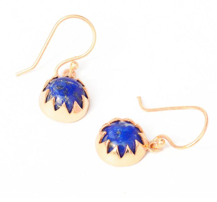 LAPIS CABOCHON DANGLE EARRINGS by Ikka Dukka Studio Pvt Ltd, Art Jewellery, Contemporary, Ethnic Earring