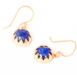 LAPIS CABOCHON DANGLE EARRINGS by Ikka Dukka Studio Pvt Ltd, Art Jewellery, Contemporary, Ethnic Earring