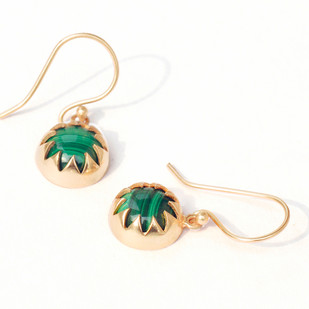 MALACHITE CABOCHON DANGLE EARRINGS by Ikka Dukka Studio Pvt Ltd, Art Jewellery Earring