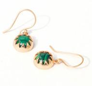 MALACHITE CABOCHON DANGLE EARRINGS by Ikka Dukka Studio Pvt Ltd, Art Jewellery Earring