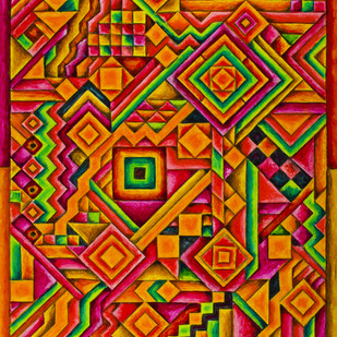 Gratitude by Ratish Sharma, Geometrical, Geometrical Painting, Acrylic on Acrylic Sheet, Brown color