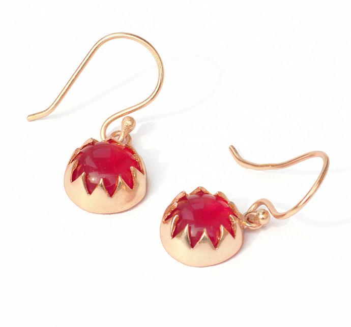 RED QUARTZ CABUSHION EARRINGS by Ikka Dukka Studio Pvt Ltd, Art Jewellery, Contemporary Earring