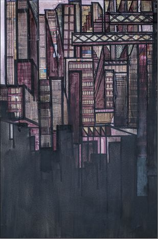 Noir by Shefali shah, Geometrical Painting, Acrylic & Ink on Canvas, Blue color