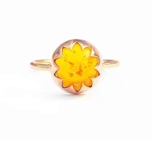 CULTURED AMBER CABOCHON STONE RING by Ikka Dukka, Contemporary Ring