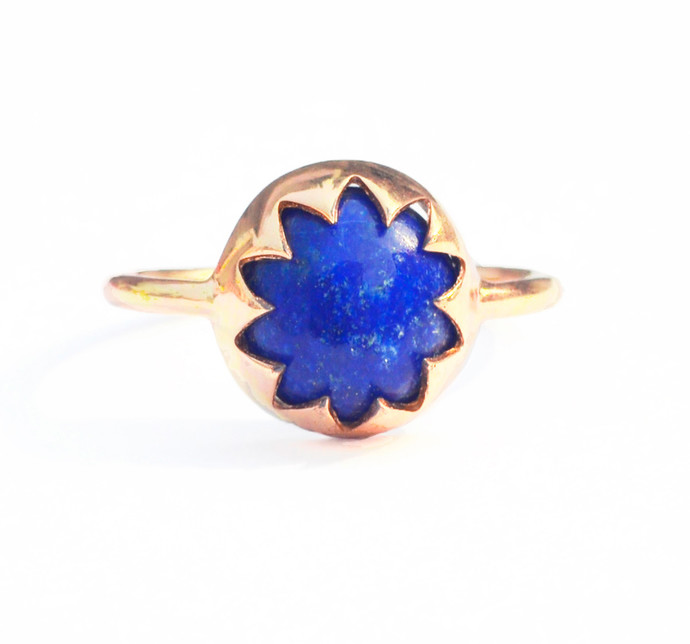 LAPIS LAZULI CABOCHON STONE RING by Ikka Dukka Studio Pvt Ltd, Art Jewellery Ring