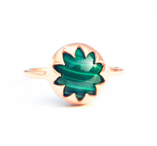 MALACHITE CABOCHON STONE RING by Ikka Dukka, Art Jewellery, Contemporary Ring