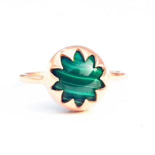 MALACHITE CABOCHON STONE RING by Ikka Dukka Studio Pvt Ltd, Art Jewellery, Contemporary Ring