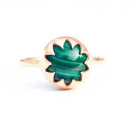 MALACHITE CABOCHON STONE RING by Ikka Dukka Studio Pvt Ltd, Art Jewellery, Contemporary Ring