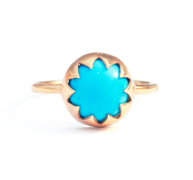 ARIZONA TURQUOISE CABOCHON STONE RING by Ikka Dukka Studio Pvt Ltd, Art Jewellery, Contemporary Ring