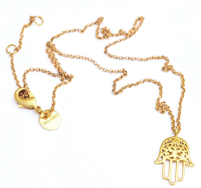 tone two necklace pendant hamsa gold