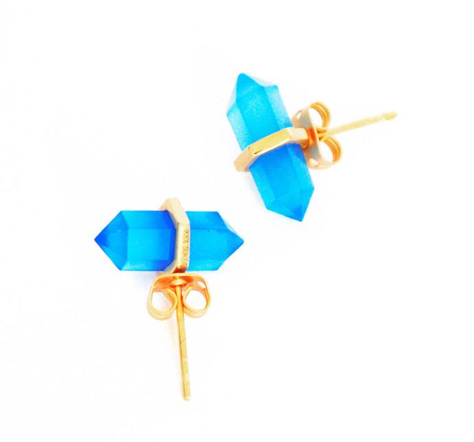 BLUE CHALCEDONY STONE EARRINGS by Ikka Dukka Studio Pvt Ltd, Art Jewellery, Contemporary Earring