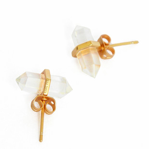 CRYSTAL QUARTZ STONE EARRINGS by Ikka Dukka Studio Pvt Ltd, Art Jewellery, Contemporary Earring