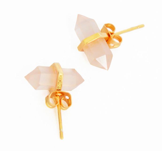 ROSE QUARTZ STONE EARRINGS by Ikka Dukka Studio Pvt Ltd, Art Jewellery, Contemporary Earring