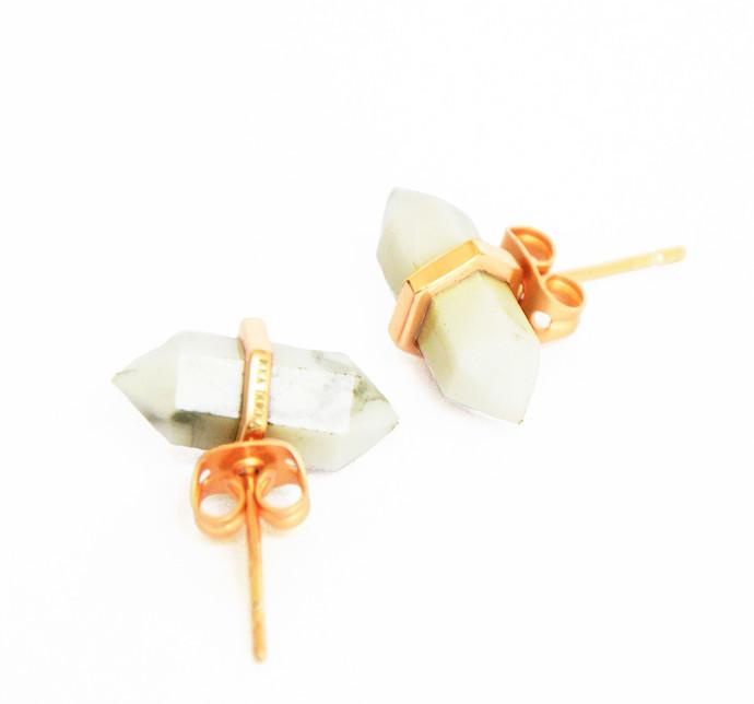 HOWLITE STONE EARRINGS by Ikka Dukka Studio Pvt Ltd, Art Jewellery, Contemporary Earring