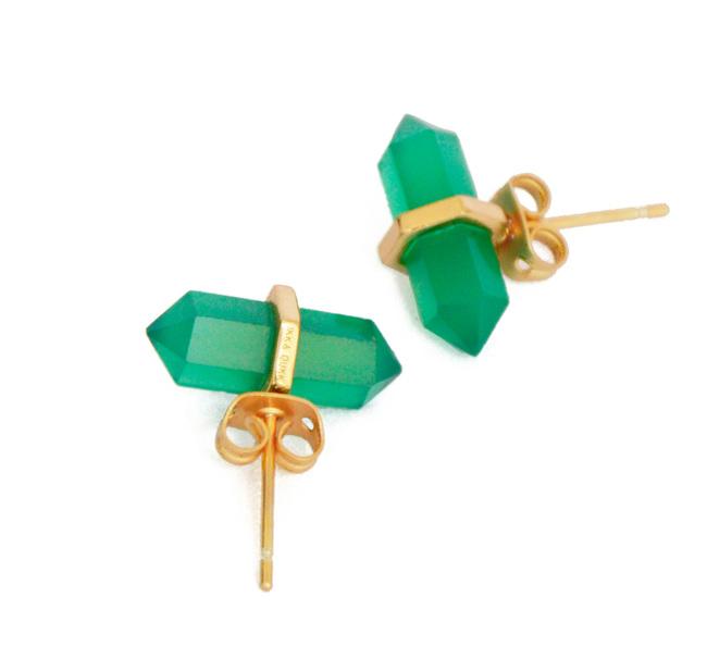 GREEN ONYX STONE EARRINGS by Ikka Dukka Studio Pvt Ltd, Art Jewellery, Contemporary Earring