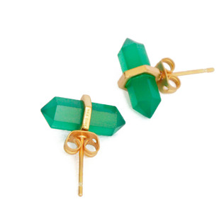 GREEN ONYX STONE EARRINGS by Ikka Dukka Studio Pvt Ltd, Art Jewellery, Contemporary Earring