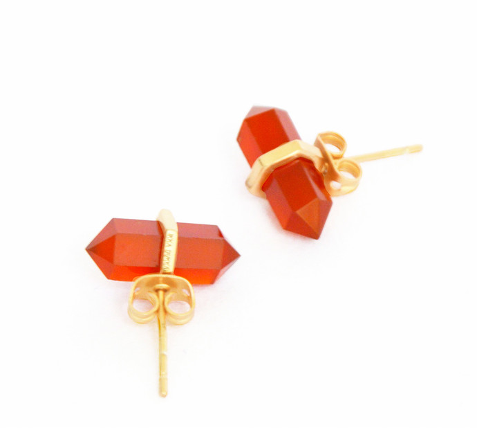 RED ONYX STONE EARRINGS by Ikka Dukka Studio Pvt Ltd, Art Jewellery, Contemporary Earring