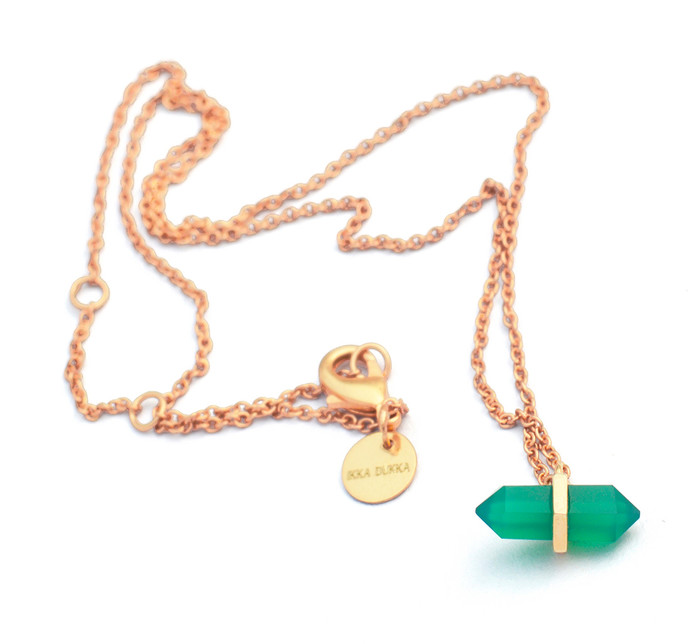 GREEN ONYX STONE PENDANT by Ikka Dukka Studio Pvt Ltd, Art Jewellery, Contemporary Pendant