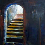 The Light by Anuradha Date, Impressionism Painting, Acrylic on Canvas, Blue color